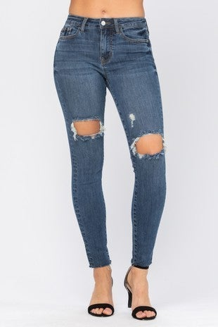 ORLANDO Judy Blue - Destroyed Knee High Waist Skinny Jeans