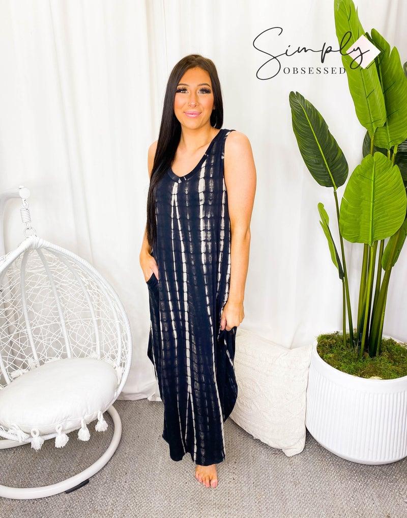 Rae Mode - Sleeveless tie dye v-neck maxi dress