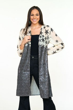 L&B- CHIFFON LONG SLEEVE DUSTER WITH STAR SEQUIN