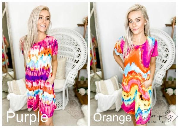 Heimish - Short sleeve round neck multicolor tie dye print dress(plus)