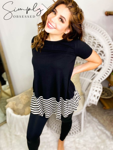 Striped and Solid Contrast Round Neck Short Sleeve Top
