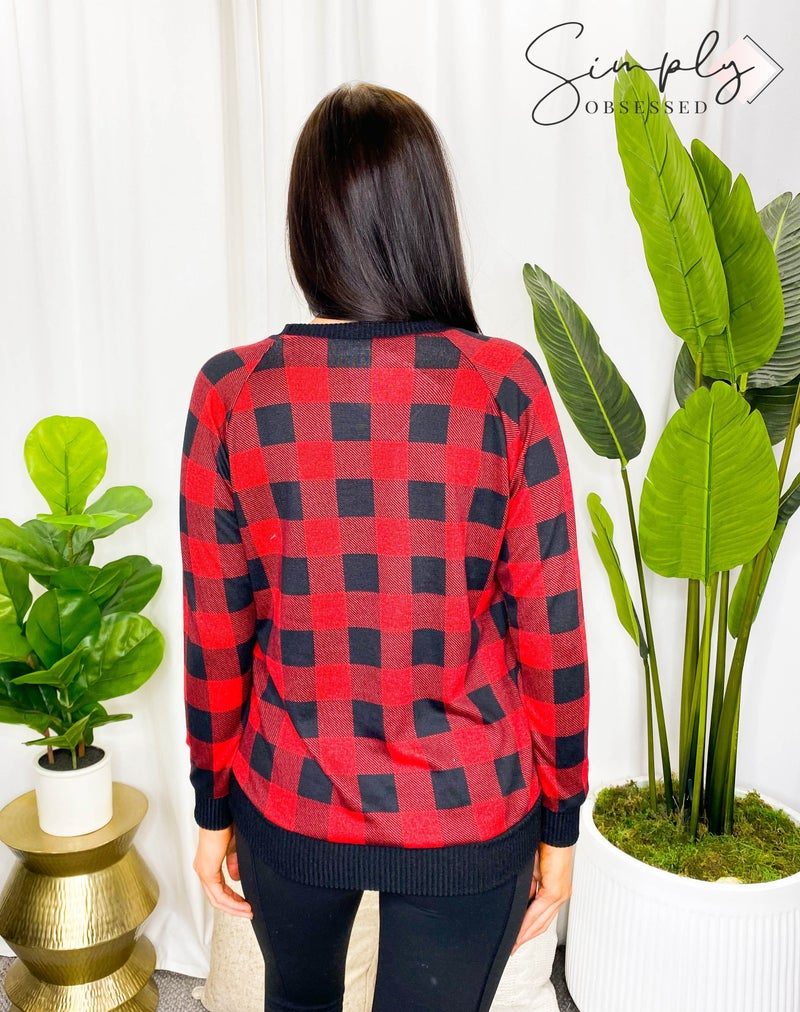 Grateful Hearts - Long sleeve plaid knit sweater