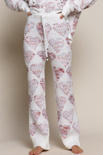 Pol - Heart print drawstring detail soft pants