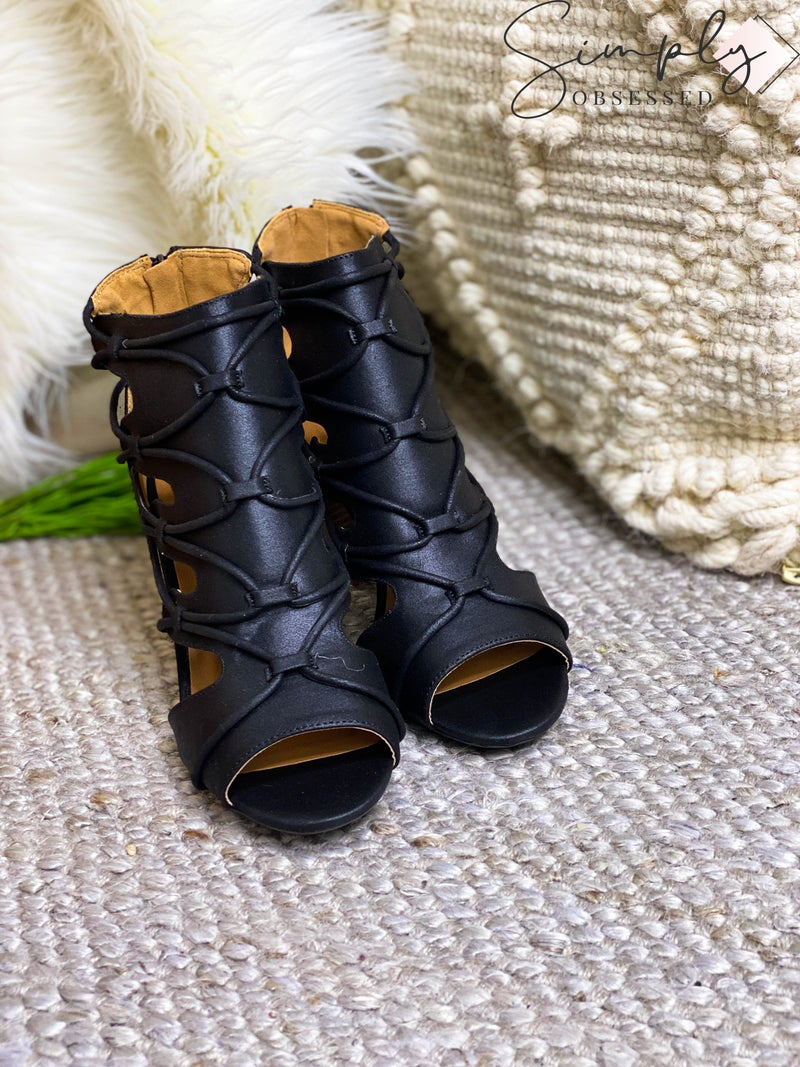 LET'S SEE STYLE-STRAP OPEN TOE ANKLE BOOTIES