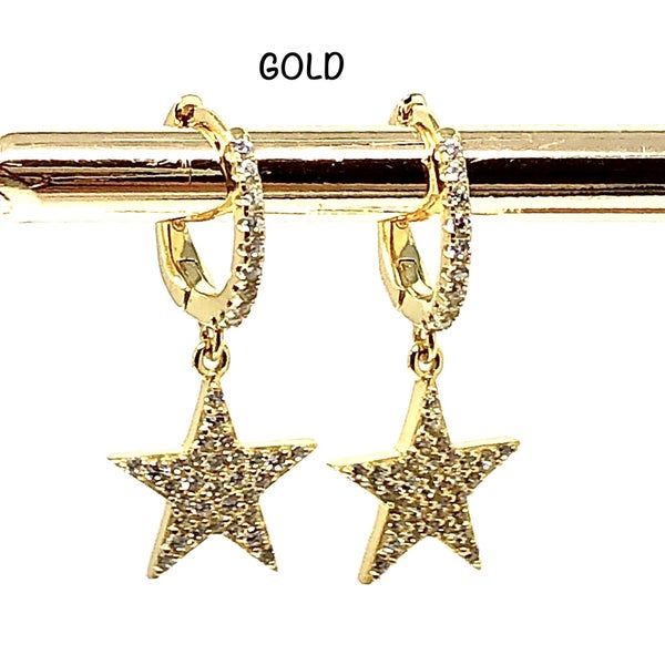 Small Circle Hanging Star Earrings