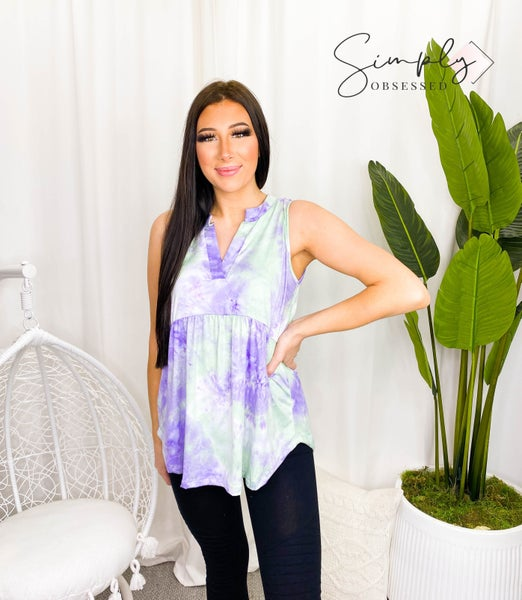 Sew In Love - Sleeveless soft tie dye v-neck top