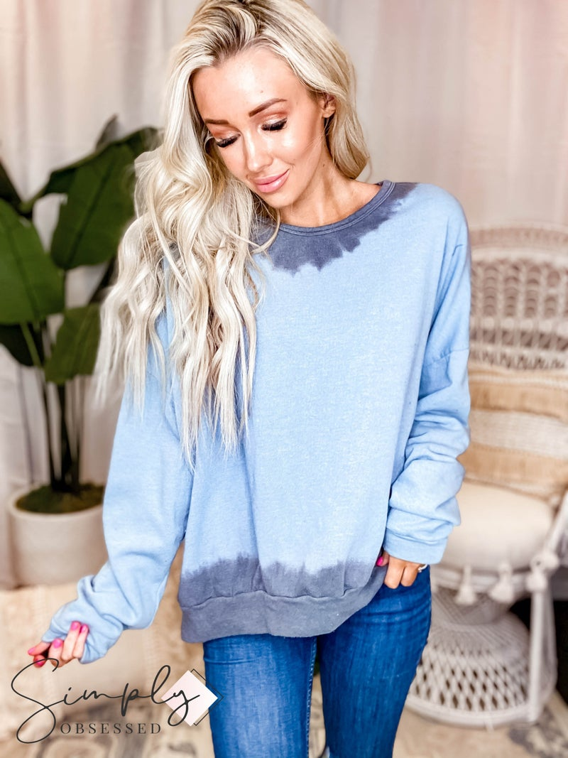 Fantastic Fawn - Long Sleeve Dip Dyed Edge Loose Fit Sweatshirt