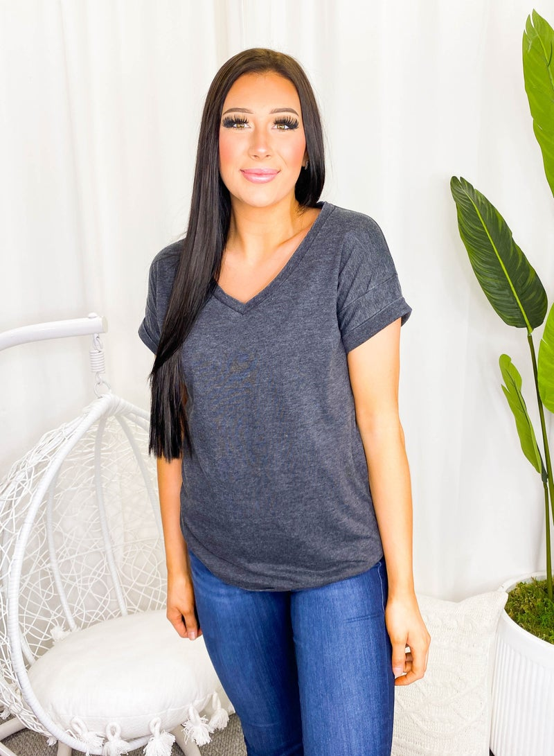 Sew In Love - Short rolled sleeve v neck top(plus)