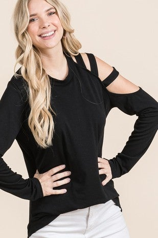 Vanilla Bay - Long Sleeve Knit Top Featuring Cut Out With Band Detail On One Shoulder