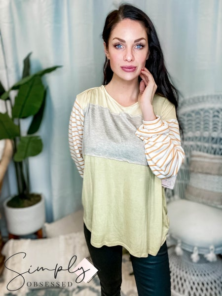 Fantastic Fawn - Long Sleeve Color Blocked Contrast Stripe Knit Top
