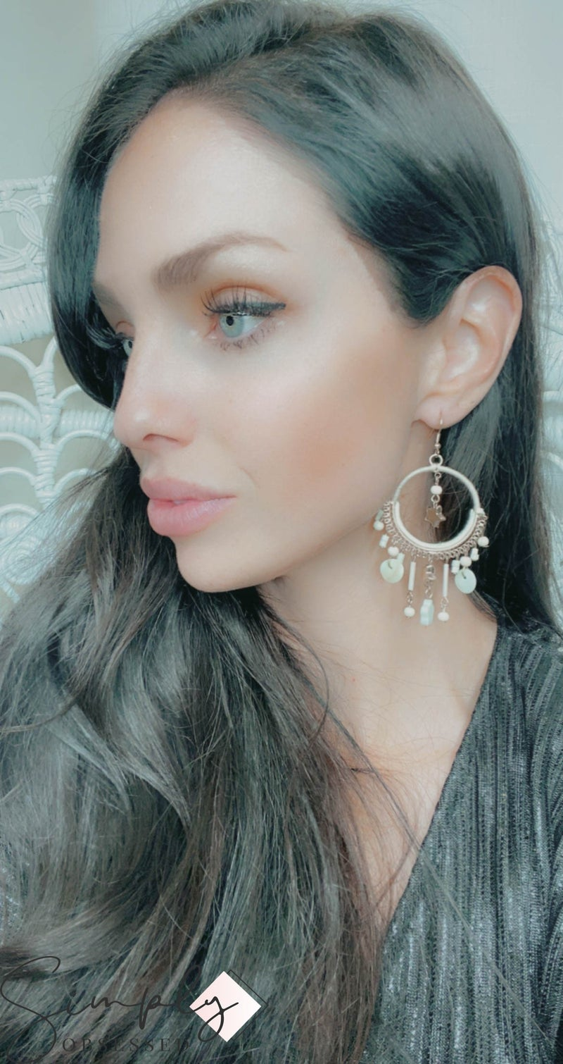 Boho Love - Star charm hoop earrings