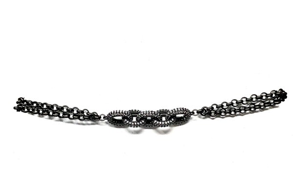 Karli Buxton - Pave Gunmetal Chain Link Choaker