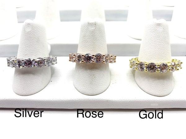 Round Diamond Sterling Ring