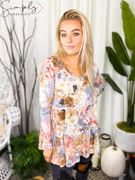 Sew In Love - Ruffled Floral V Neck Tunic Top