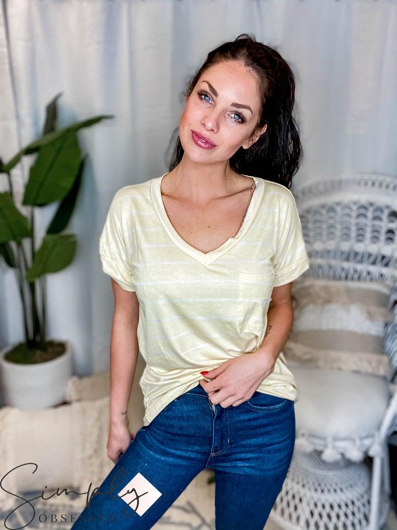 Sew In Love - Stripe V Neck Top W/ Pocket