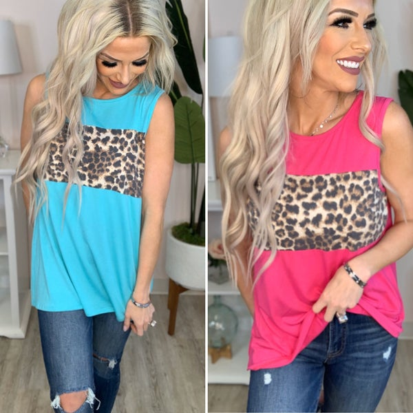 Nadia- Round neck solid and leopard animal print contrast top