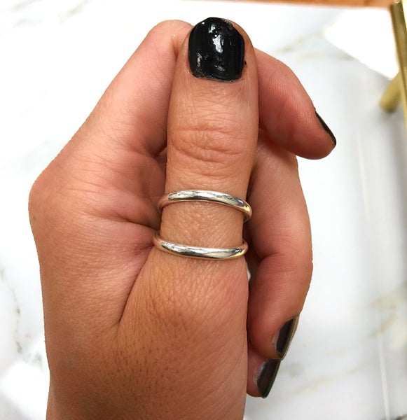 """M&S Sterling Silver - Double Band """"V"""" Ring"""