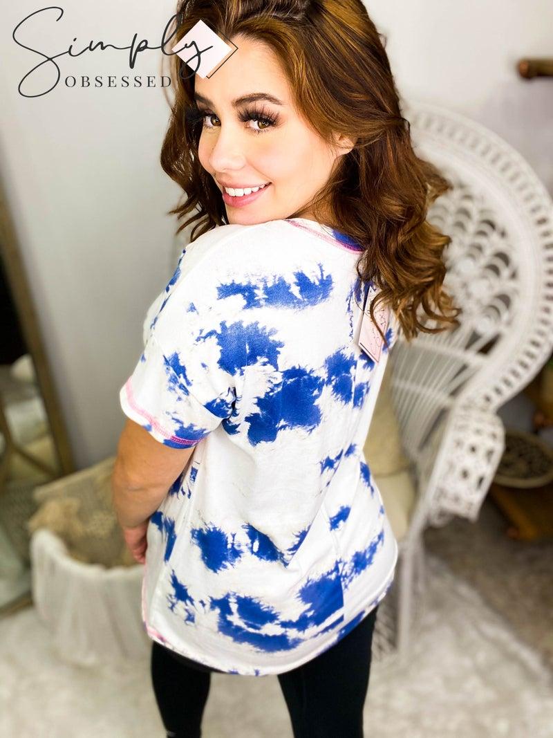 Honey Me - Short sleeve tie dye knit top