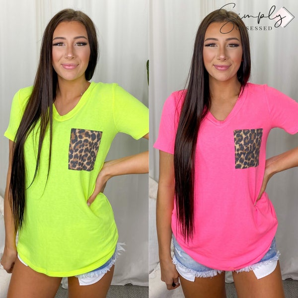 FIRST LOVE-Neon Top With A V Neckline And Contrast Leopard Chest Pocket