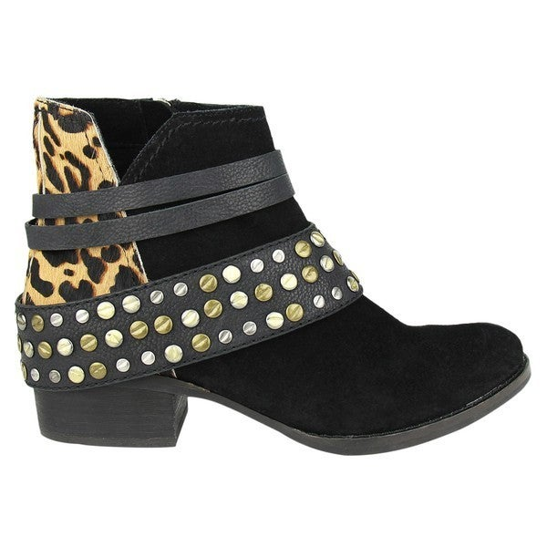 Naughty Monkey - Heeled booties with leopard print and stud details