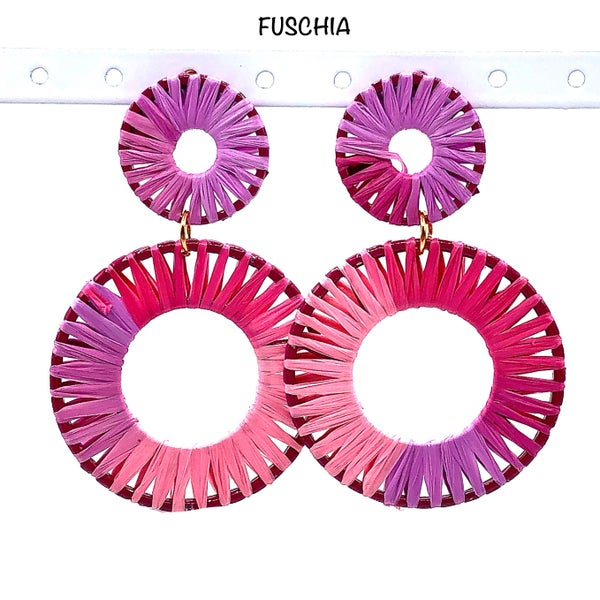 Raffia Wrapped Double Circle Dangle Earrings