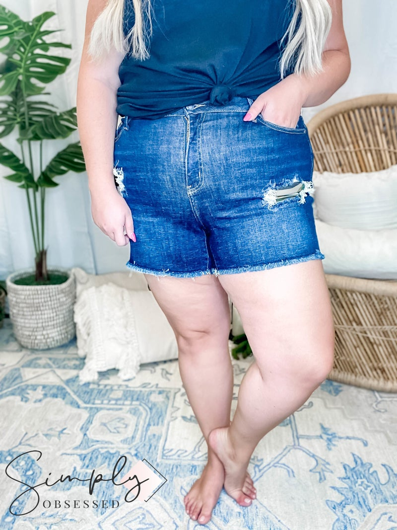 """Judy Blue - Mid-Rise Camo Shorts (All Sizes) Rise: 10"""" Inseam: 3.75"""""""