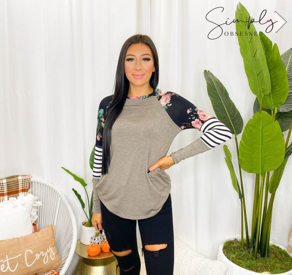 Vanilla Bay - Round Neck Knit Top Featuring Color block Raglan Long Sleeve with Floral and Stripe Details