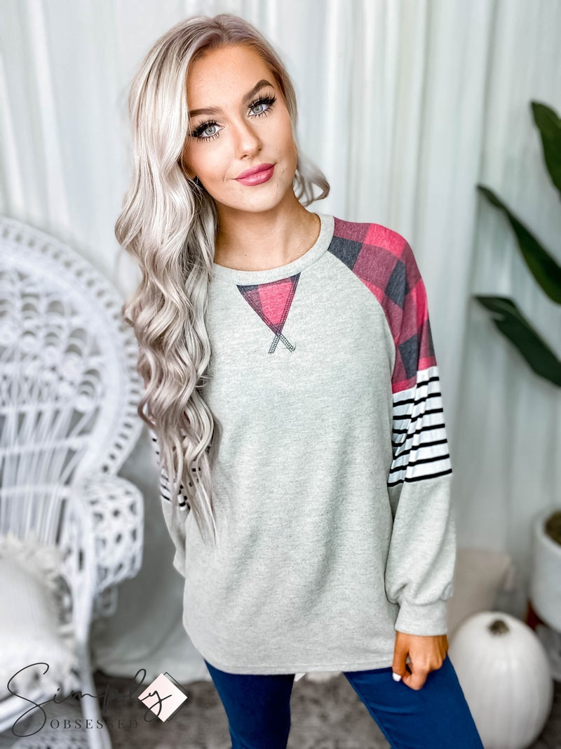 Vanilla Bay - Long sleeve brushed plaid and stripe detail top