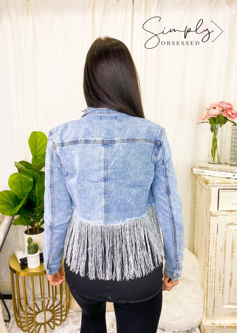 Purple Candy - Long sleeve cropped denim jacket with shiny tassels