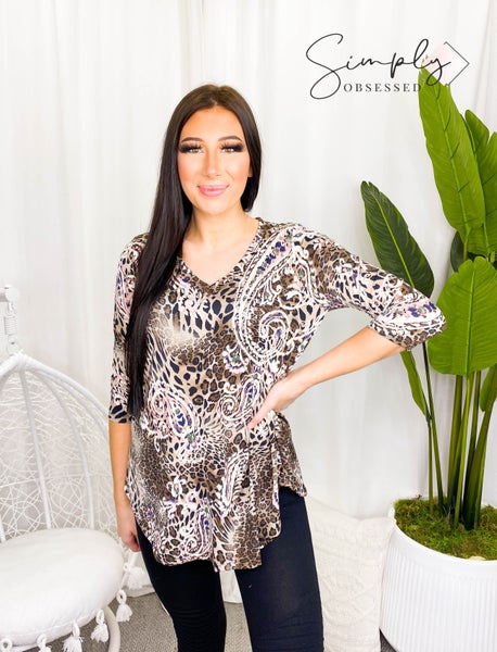 Sew In Love - Mid length sleeve animal print floral v-neck top