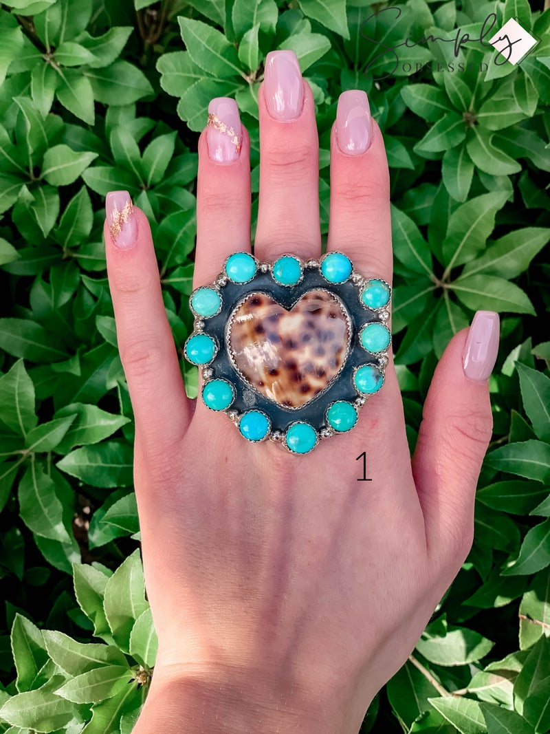 M & S - Cowrie Heart w/ Turq. Cluster Ring