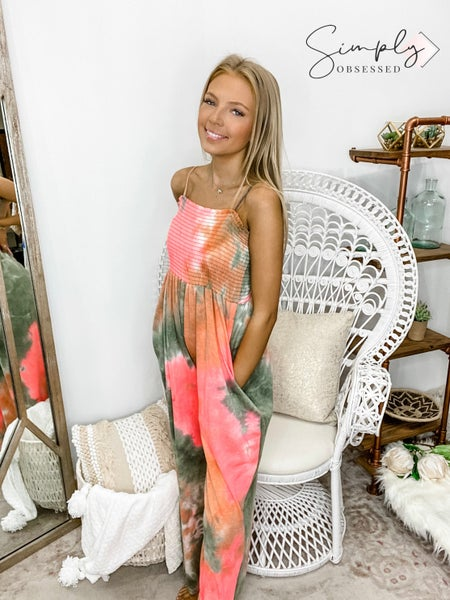 Cy Fashion - Tie dye jumpsuit featuring lettuce smocking and high waist with pockets