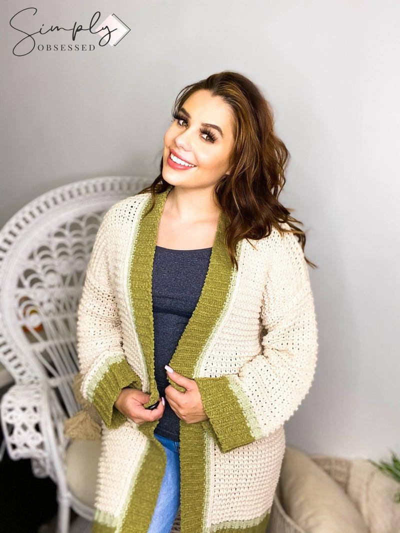 Pol - Long sleeve open knit cardigan