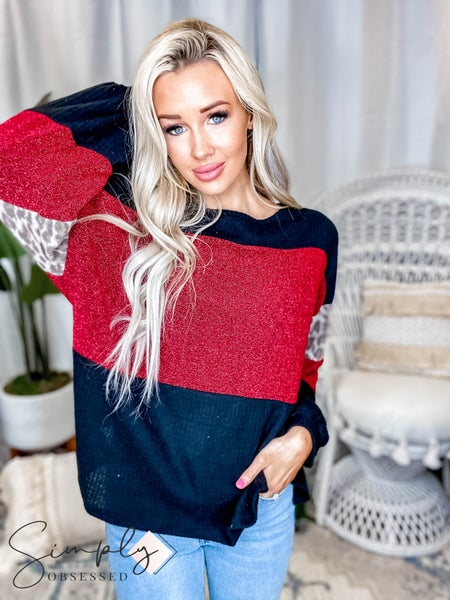 CY Fashion - Long Sleeve Color Block Top with Glitter Detail