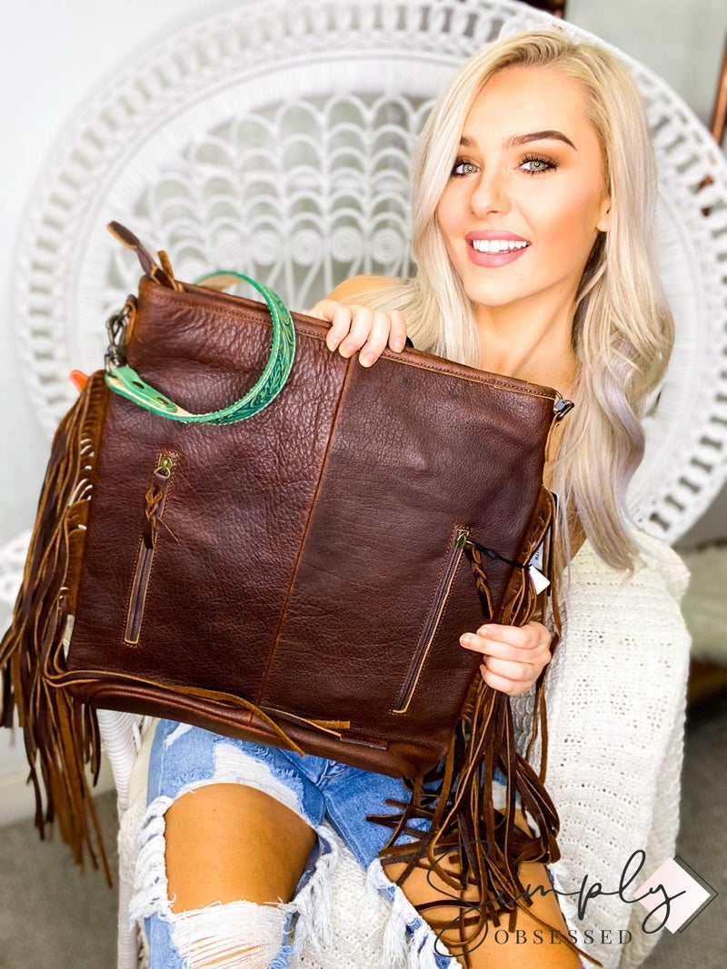 American Darling - Hand crafted leather work tassel detail large cross body bag
