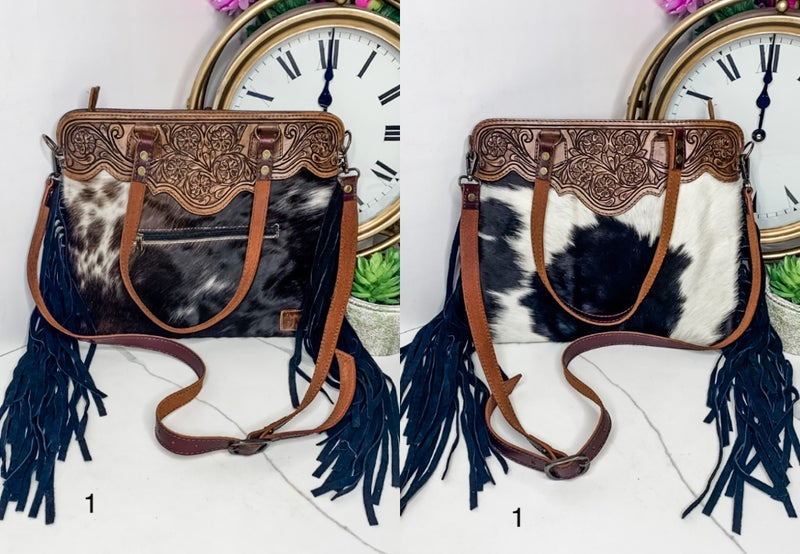 AMERICAN DARLING-LARGE BAG WITH LEATHER WORK AND FRINGE
