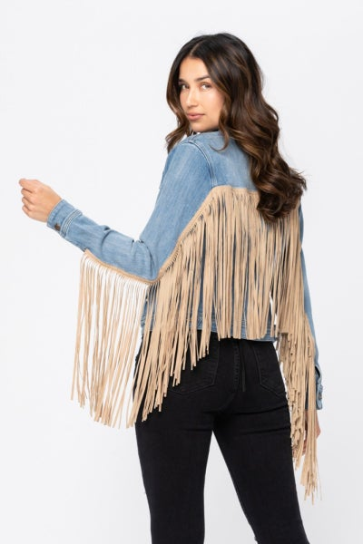 Judy Blue - Fringe Denim Jacket