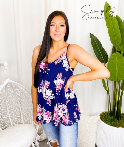 White Birch - Sleeveless floral knit top