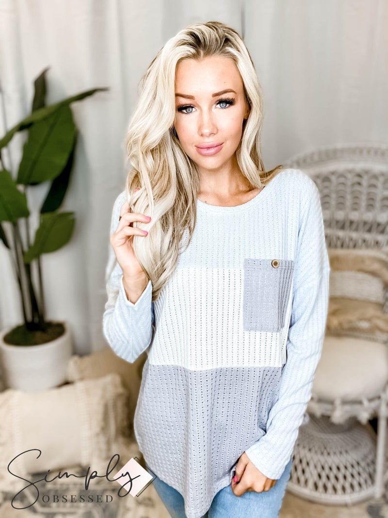 First Love - Criss Cross Rib Sweater Color Blocked Top With Chest Pocket