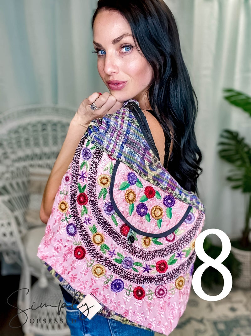 Lucia's Imports - Assortment of Multicolored Recycled Guatemalan Huipile Purse - The Pinks/Purples/Reds
