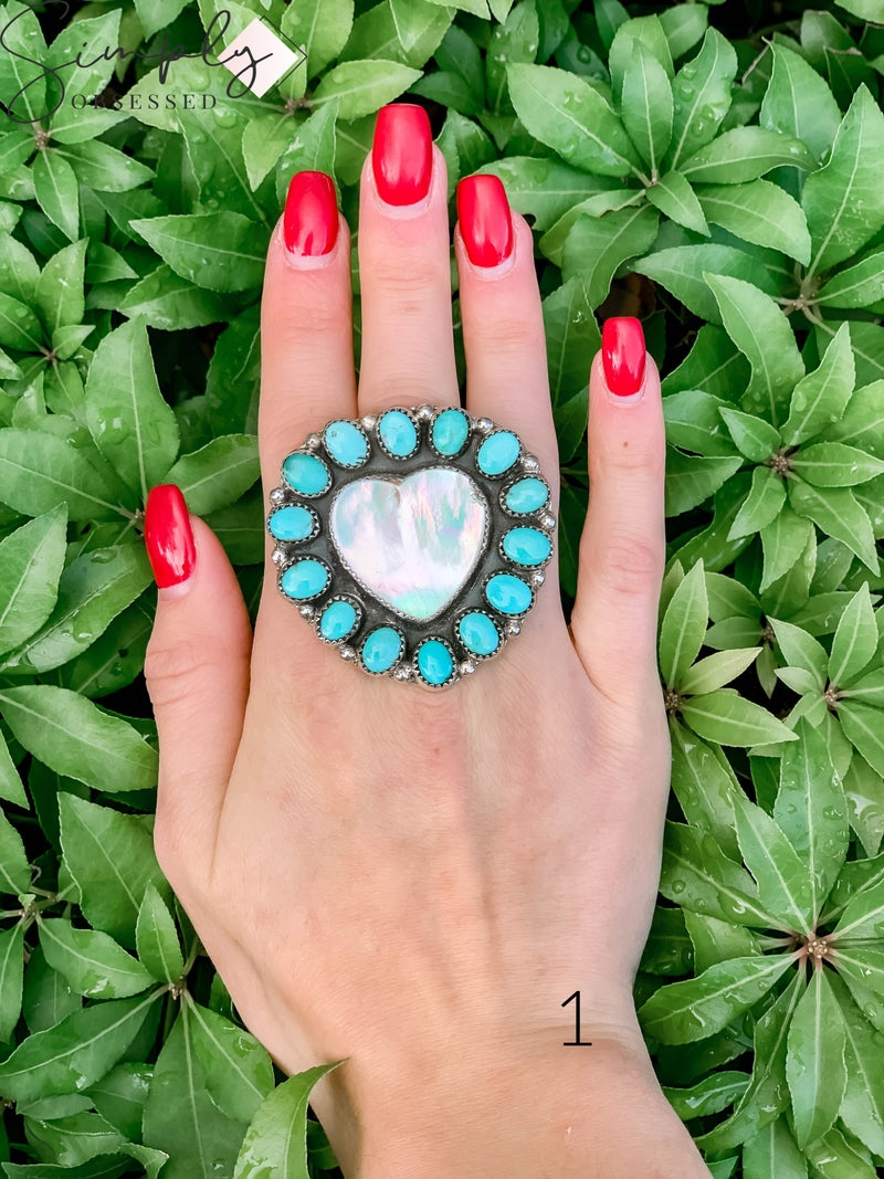 M & S - Mother of Pearl Heart w/ Turq. Ring