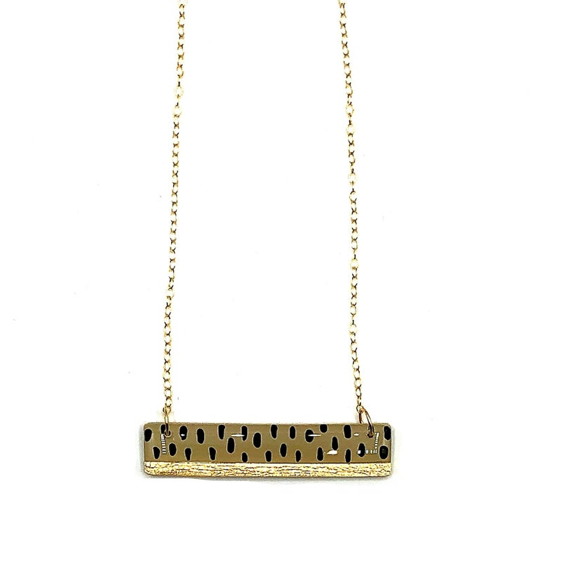 Clay N' Wire - Polka dot and Gold Bar Necklace