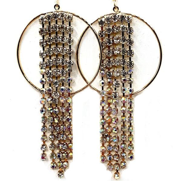 E R - Gold and Crystal Dangle Hoop Earrings