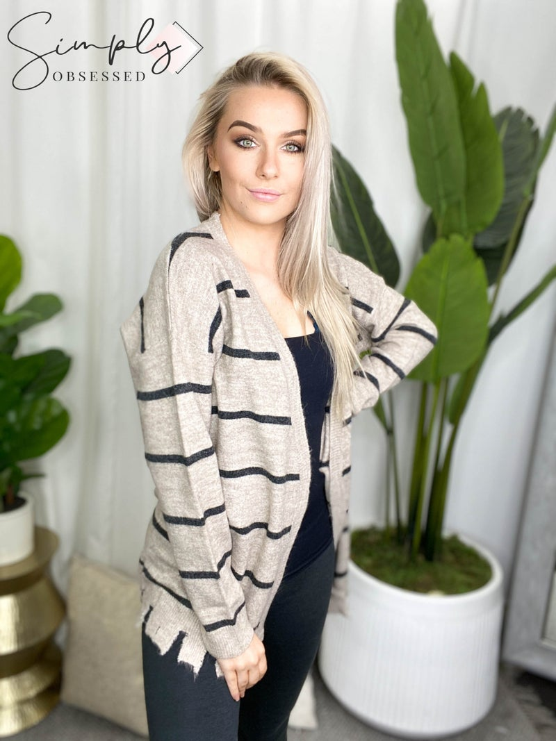 Eesome - Long sleeve striped open cardigan with distressed detail