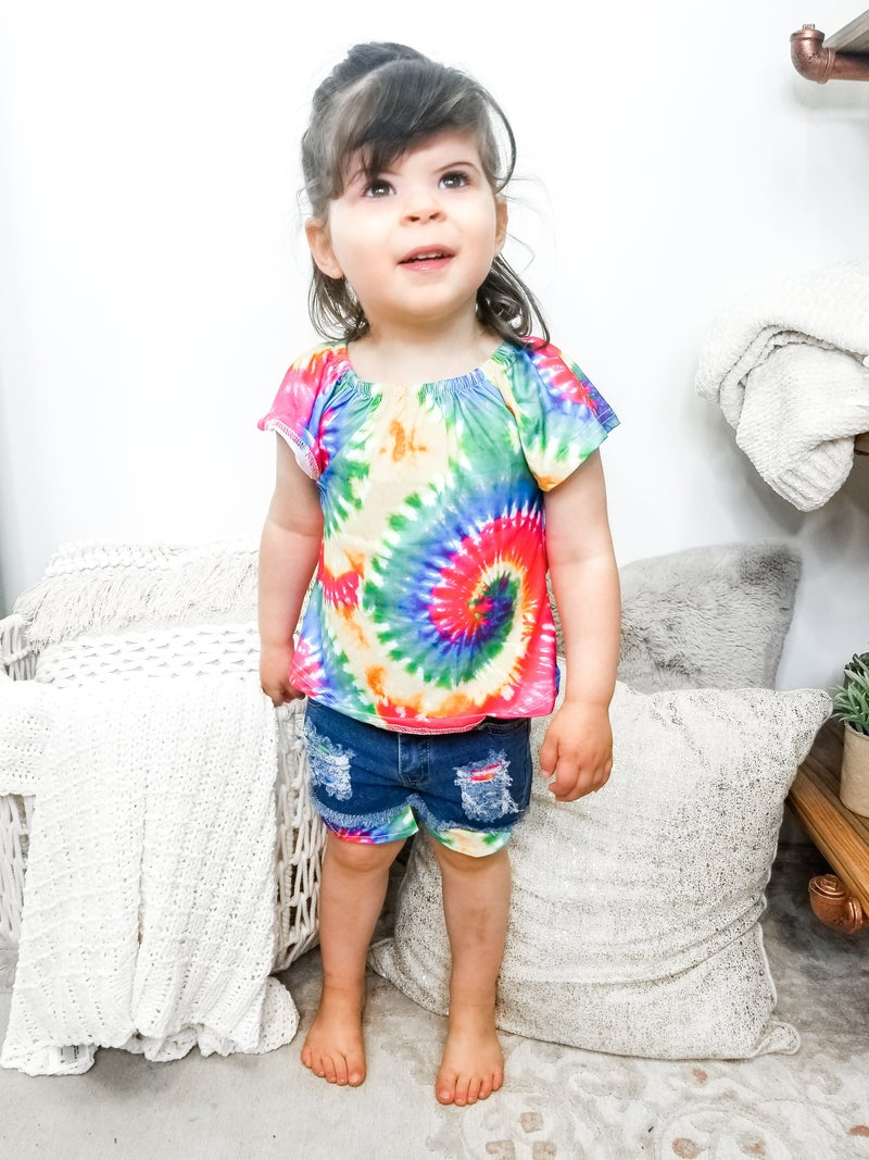 Honeydew - Tie dye top denim shorts kids set