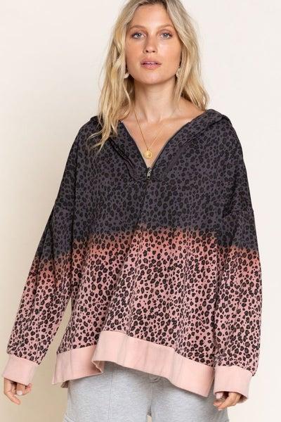 POL - Long sleeve 1/4 zip ombre leopard print hoodie top