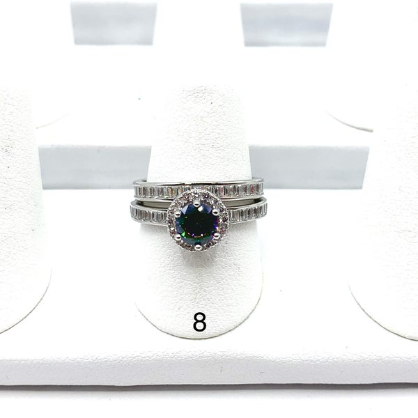 Silver Mystic CZ Center Ring