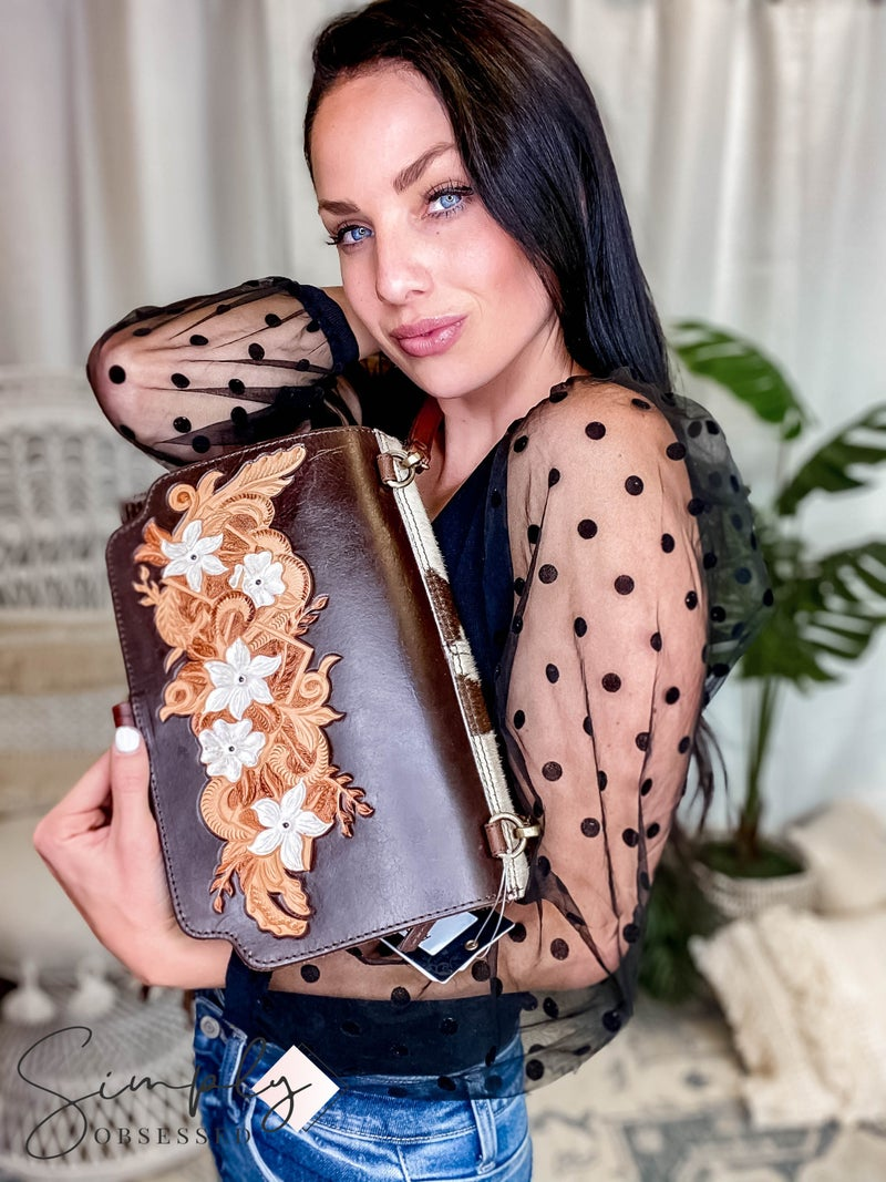 American Darling - Hand crafted leather work tassel detail cross body clutch