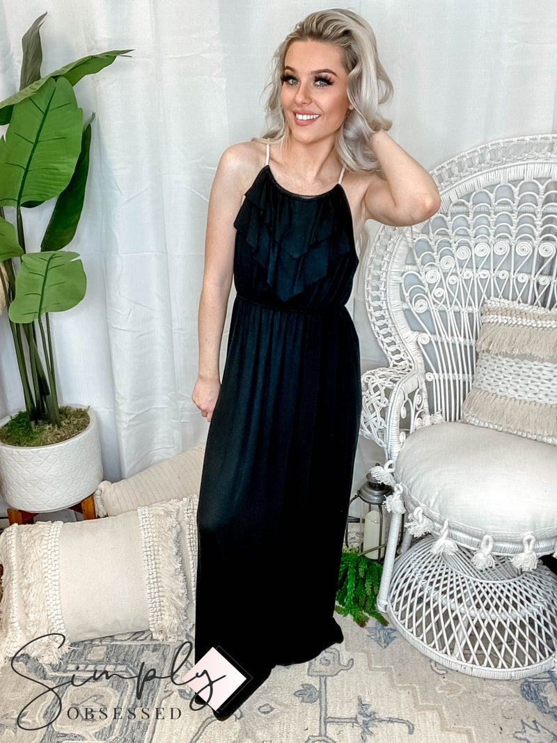 P.S. Kate - Solid maxi dress with front ruffle detail(All Sizes)