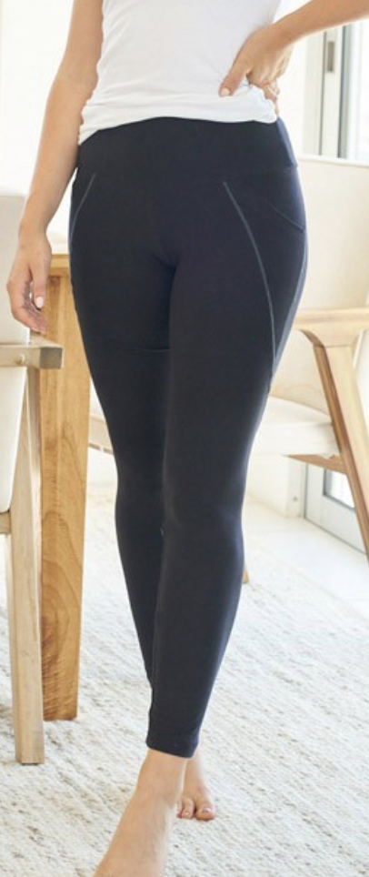 White Birch - Solid knit leggings with side pockets(Plus Size)